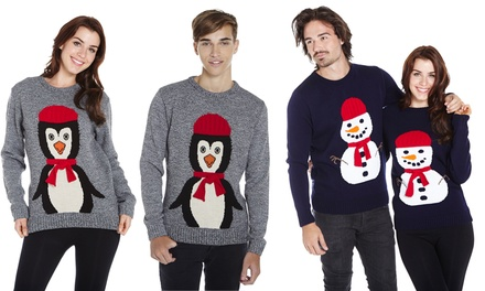 Unisex Christmas Jumper with 3D Knitted Scarf Design for £11.99