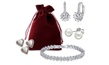 Valentijnsdaggeschenkset met sieraden en 3 chocoladeharten