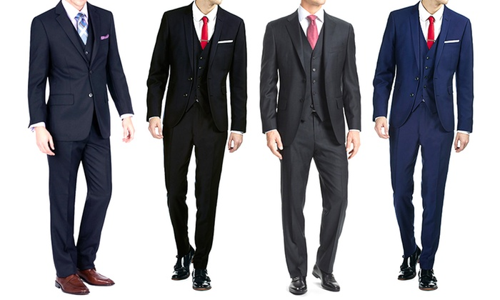 Braveman Men's 3-Piece Slim-Fit Suit with Free Tie | Groupon
