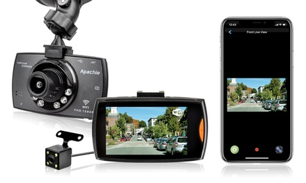 Apachie G100 Wi-Fi Full HD Dual Dash Cam with Optional 16GB SD Card