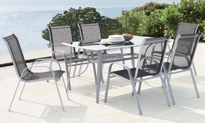Ensemble Jardin Table Aluminium 6 Chaises Textilene