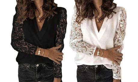 Blusa para mujer con mangas de encaje