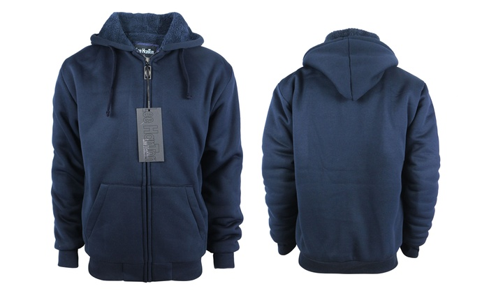 Lee Hanton Men's Solid and Marled Sherpa Lined Hoodies (Sizes L & 5XL)
