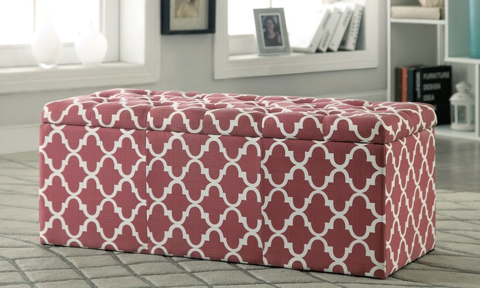 Upholstered Storage OttomanGroupon Goods