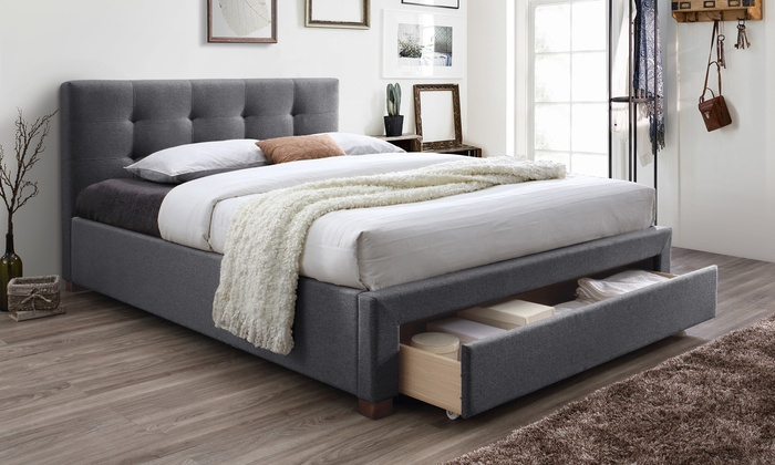 Brandy Upholstered King-size Storage Platform Bed & Upholstered King Platform Bed | Groupon Goods