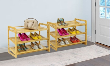 Stackable Bamboo ThreeTier Shoe Rack: One $39 or Two $68