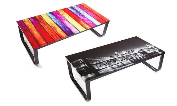 Table basse avec plateau en verre groupon shopping Table basse multicolore