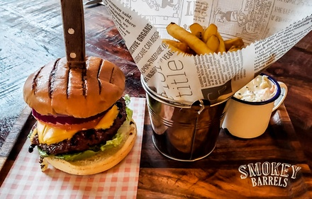 Smokin' Barrel Burger with Choice of Drink for One, Two or Four at Smokey Barrels
