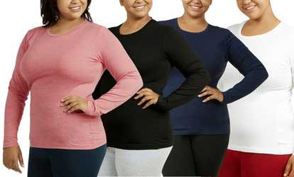 cfb4812b66 Shop Groupon Women s Plus-Size Long-Sleeved Crew-Neck Tee (2-Pack)