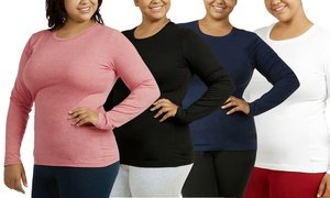 Women's Plus-Size Long-Sleeved Crew-Neck Tee (2-Pack)