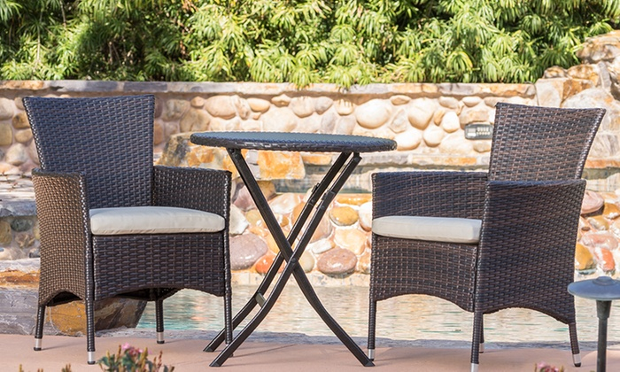 Dorchester Wicker Patio Set (3-Piece) ... - Up To 49% Off On Dorchester Patio Set (3-Pc.) Groupon Goods