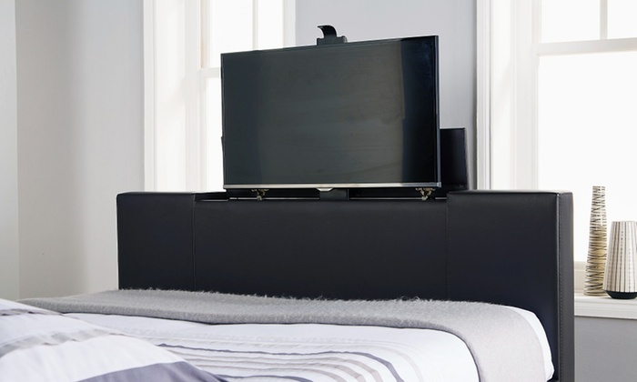 tv bed. groupon goods global gmbh: newark double or king electric tv bed with optional luxury bonnell tv