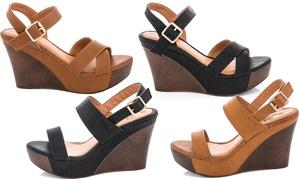 Lady Godiva Laura Women's Platform Wedge Sandals (Sizes 7.5 & 8.5)