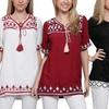 Women's Embroidered Tassel Neck Tunics