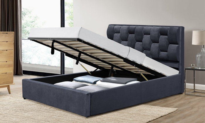 Brisbane Velvet Ottoman Bed with Optional Mattress