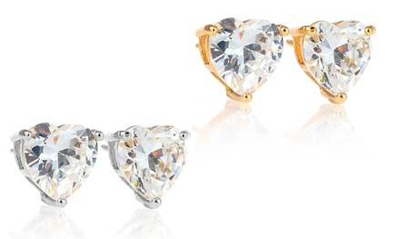 14K Solid White or Yellow Gold Heart Crystal Studs Made with Swarovski Elements