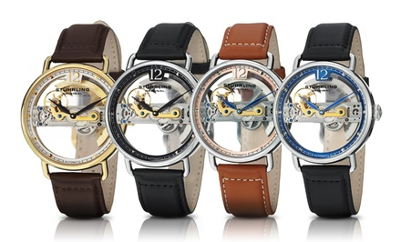 Stuhrling Original Men's Skeleton Bridge Automatic Watch. Multiple Styles Available.