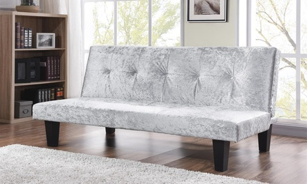 crushed velvet spindle fabric sofa bed