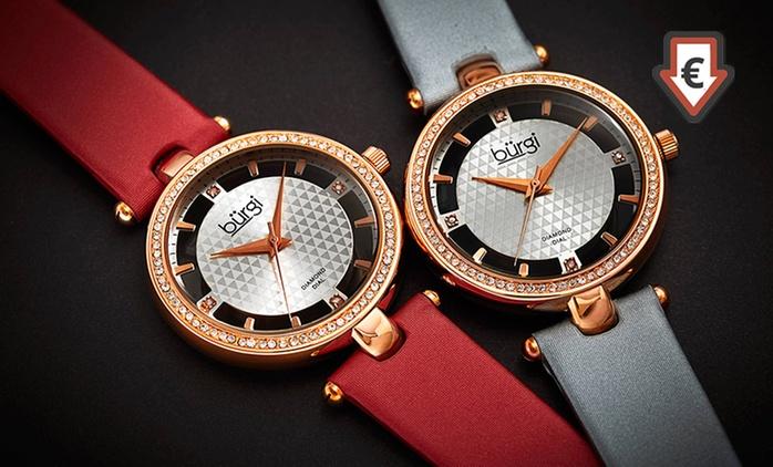 Montre pour femme de la marque Burgï, ornée de 4 diamants véritables, à 39,90€ (89% de réduction)