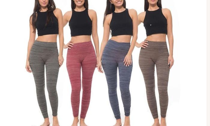 Coco Limon Women's Space Dye Fleece Leggings (4-Pack)