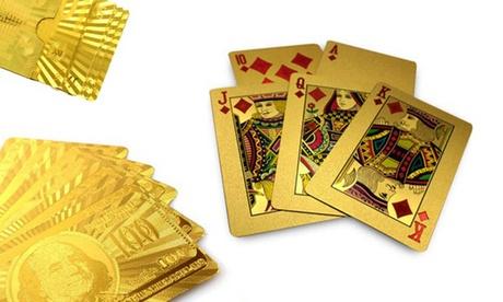 1x oder 2x Kartenspiel in Gold mit Euro oder Dollar