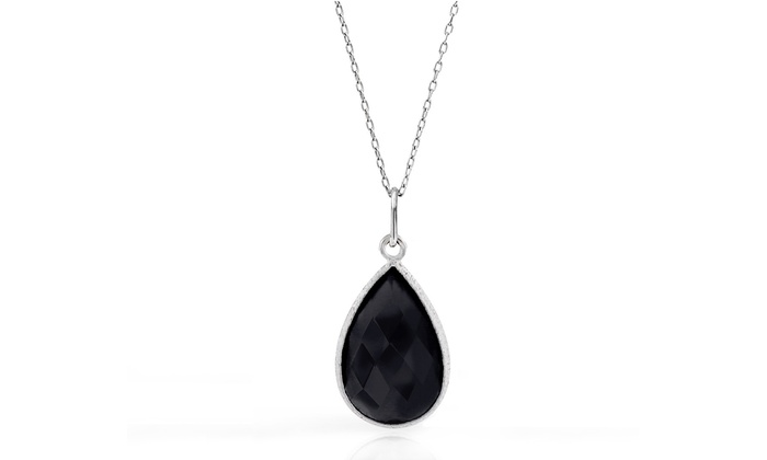 50 cttw black onyx pendant groupon goods 50 cttw genuine black onyx tear drop pendant in sterling silver aloadofball Images