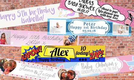 One or Two Personalised Celebration Banners from Grange Print (Up to 55% Off)