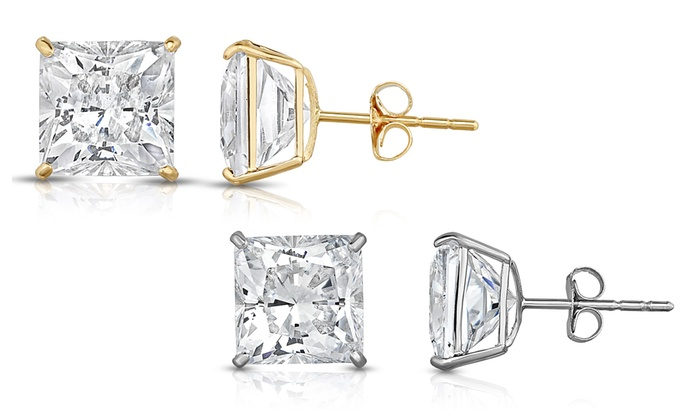 Up To 59 Off On Solid Gold Stud Earrings Groupon Goods