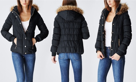 Junior Women's Fur Lined Hood Puffer Jacket