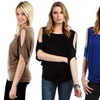 Lyss Loo Women's Plus-Size Open-Shoulder Top with Side Ruching