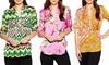 Nikki's Threads Women's V-Neck Printed Blouses