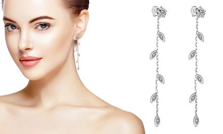 One or Two Pairs of Philip Jones SilverPlated Leaf Drop Earrings with Crystals from Swarovski®