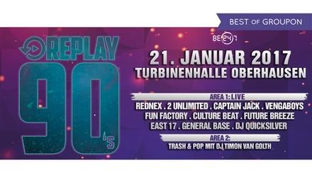 """2 Tickets für """"Replay 90s"""" am 21.01.2017 um 21 Uhr in der Turbinenhalle Oberhausen (50% sparen)"""