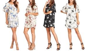Women's Floral Bell-Sleeve Shift Dress