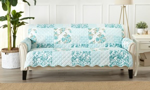 Stain-Resistant Patchwork-Style Scalloped Printed Furniture Slipcovers