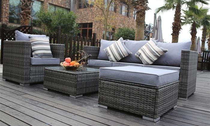 Garden Furniture Vancouver vancouver five-seater rattan set | groupon
