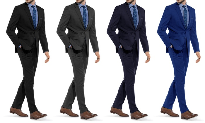 88% Off on Braveman Men's Slim-Fit Suit | Groupon Goods