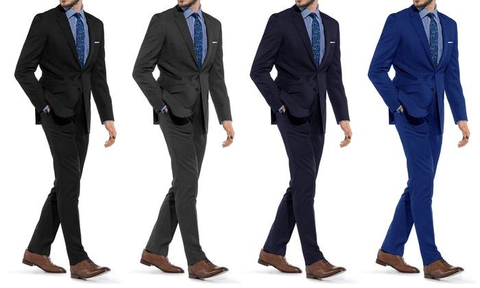 88% Off on Braveman Men's Slim-Fit Suit | Groupon Goods