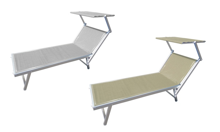 Rigamonti Lettino Mare in Alluminio e textilene con Tetto.