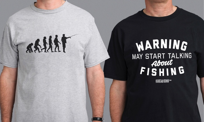 Men's Fishing Enthusiasts T-Shirts in Choice of Design for £7.99