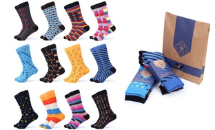 12 Pairs Gallery Seven Men's Funky Colorful Socks