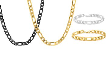 Men's Stainless Steel Figaro Necklace or Figaro Chain And Bracelet Set