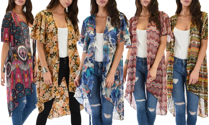 Lyss Loo Breath of Life Women's Floral Kimono Cardigan Top | Groupon