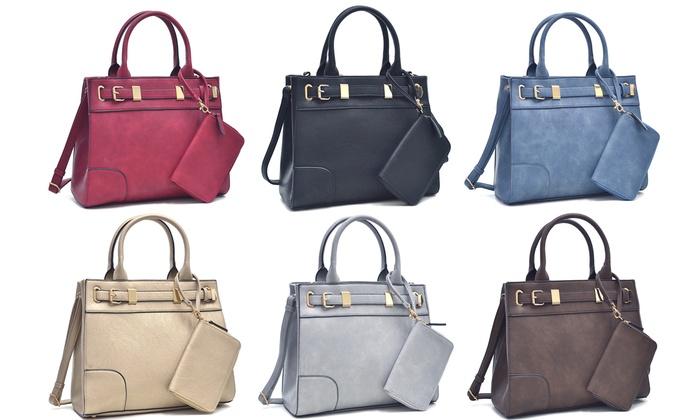 MK Belted Gold Medium Satchel Handbag and Matching Wristlet (2 ...