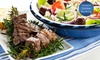 Greek Feast with Meat Platter and Wine for Two