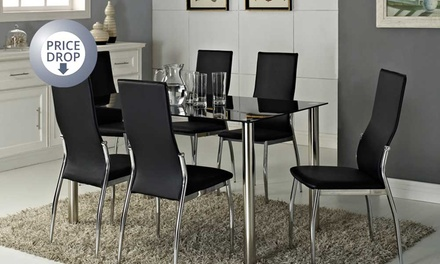 rome glass dining table set