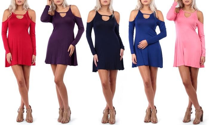 Women's Cold-Shoulder Dress: Women's Cold-Shoulder Dress