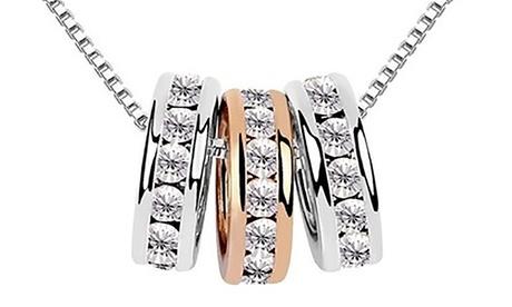 Collana Tris Anellini con cristalli sintetici bianchi