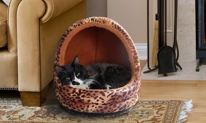 Animal-Print Hooded Cat Bed: Animal-Print Hooded Pet Bed