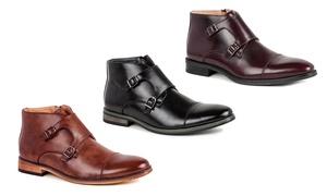 Gino Vitale Men's Double Monk Strap Cap-Toe Dress Boots